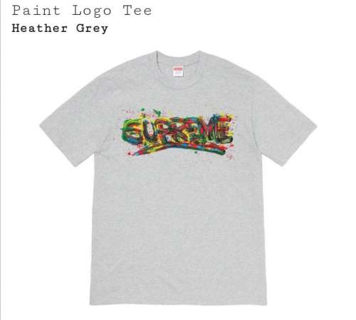 Supreme paint logo tee heather grey